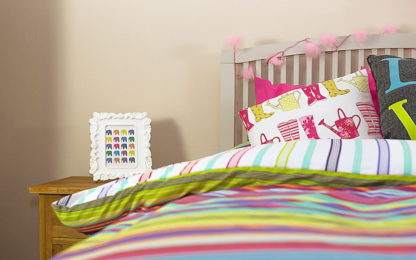 A colourful bedroom at The Red House